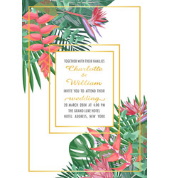Tropical wedding invitation with gold frame vector