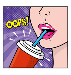 woman drinking soda and pop art opps message vector image