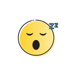 yellow smiling cartoon face sleeping people vector image