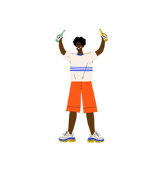 young african american man in casual clothes vector image