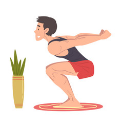 Young man doing squats at home physical activity vector