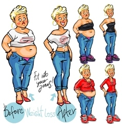 Young woman before and after weight loss vector image