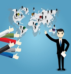 Businessman with world map and Thumb up vector image vector image