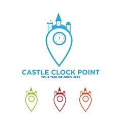 Castle clock kingdom logo vector