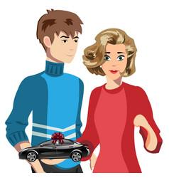 Couple with car concept vector