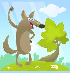 cute cartoon funny wolf vector image vector image