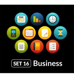 Flat icons set 16 - businnes collection vector