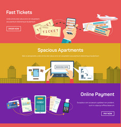 online payment for flight tickets or apartment vector image vector image