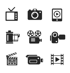 Set computer icons of photo and video vector image