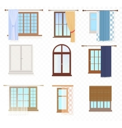 Set of high quality various Vintage Windows with vector image vector image
