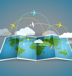 Airplanes flying over the abstract map vector image vector image
