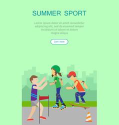 children going in for sport web banner poster vector image