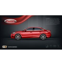 Digital red car with black windows mockup vector image