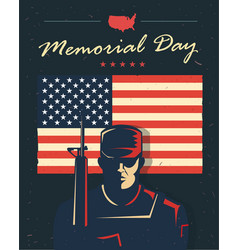 memorial day card soldier against american flag vector image vector image