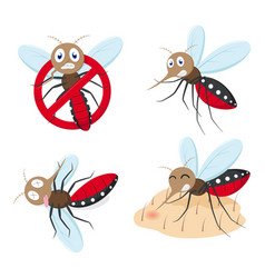Mosquito cartoon collection set vector