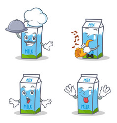 Set of milk box character with chef trumpet vector