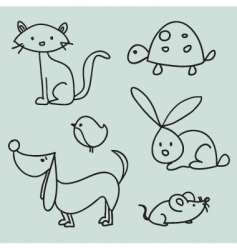 animal drawings vector image vector image