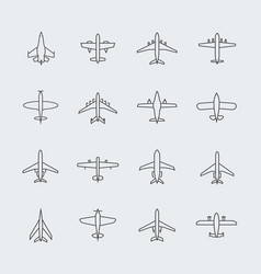 aviation thin line icons and linear aircraft vector image vector image