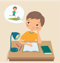 boy makes homework and dreams about football vector image vector image