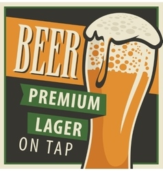 Glass of beer in retro style vector image vector image