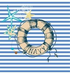 Marine background lifebuoy frame vector image vector image