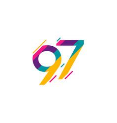 97 years anniversary celebration logo template vector