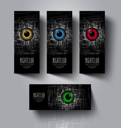 a set of flyers and banners for night club party vector image