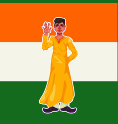 A young indian guy dressed in lungi clothes stands vector