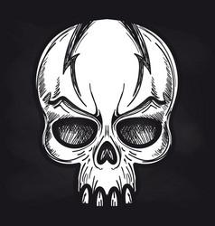 Aggressive monsters skull on blackboard vector