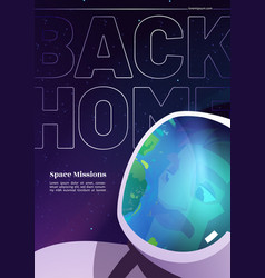 Back to home cartoon banner with astronaut travel vector