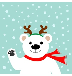 Big white polar bear in deer horn and scarf waving vector