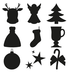 Black and white 9 xmas elements silhouette set vector