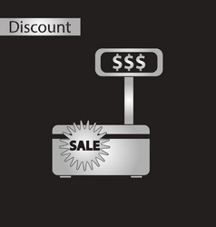 Black and white style icon cash machine sale vector