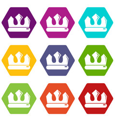 bronze crown icons set 9 vector image