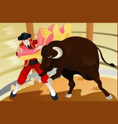Bull fighting matador vector
