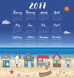 Calendar 2017 year one sheet hand drawn beach huts vector