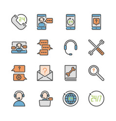 call center and support in colorline icon set vector image