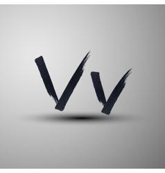 Calligraphic hand-drawn marker or ink letter V vector