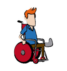 Cartoon man sitting wheelchair with fractured leg vector