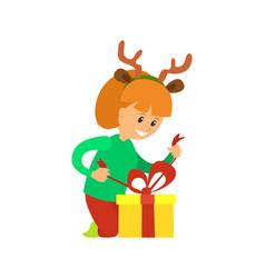 christmas holidays girl opening presents vector image