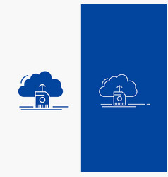 cloud upload save data computing line and glyph vector image