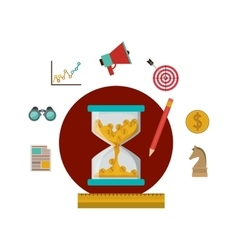 Coins inside hourglass and social media icon set vector