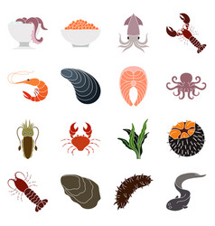 collection of colorful seafood icons vector image