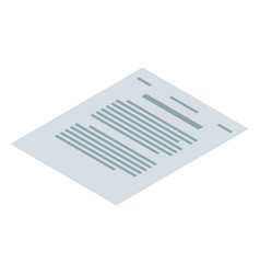 contract paper icon isometric style vector image