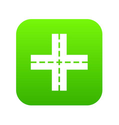 crossing road icon digital green vector image