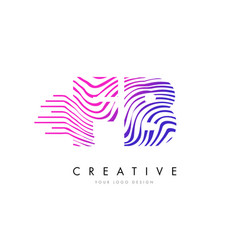Fb f b zebra lines letter logo design with vector