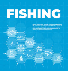 fishing background with icons and signs vector image