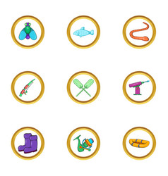 Fishing holiday icon set cartoon style vector
