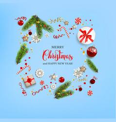 Flat lay christmas card vector