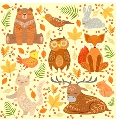 Forest animals covered in ornamental patterns vector